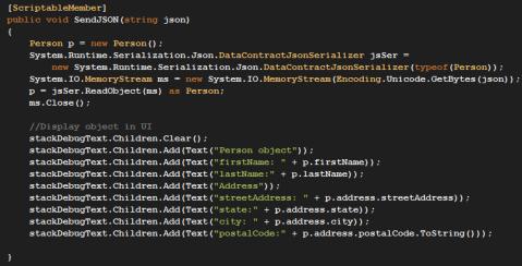 Code for deserialzing a json object in silverlight