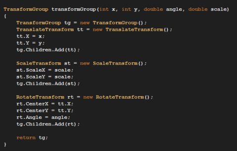 Function that returns a TransformGroup