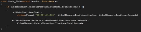 C# Video position text